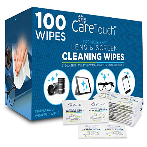 Care Touch Pre-Moistened Lens Cleaning Cloths | 100 Individually Wrapped Wipes | Great for Eyeglasses, Tablets, Lenses, and Other Delicate Surfaces