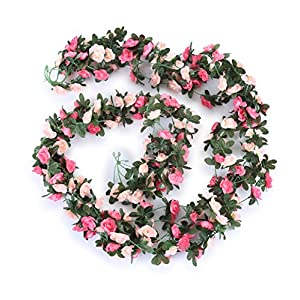 Miracliy 5 Pack 41 FT Fake Rose Vine Flowers Plants Artificial Flower Hanging Rose Ivy Home Hotel Office Wedding Party Garden Craft Art Décor Pink 4