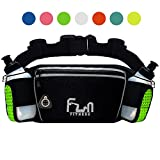 FunFitness HYDRATION RUNNING BELT with Water Bottles 6oz – Waist Bag for Jogging, Hiking, Biking – Fanny Pack for Outdoors and Sports with Waterproof Pocket
