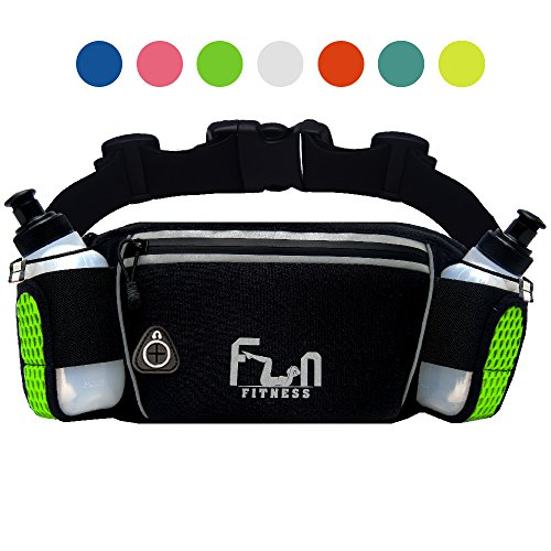 FunH2OBelt (Green - Large Up to 87cm) Hydration Running Belt with Water...