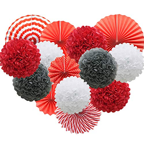 (Red Hanging Paper Party Decorations, Round Paper Fans Set Paper Pom Poms Flowers for Birthday Wedding Graduation Baby Shower Events)