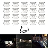 20 Pack Led Deck Lights Outdoor IP67 Waterproof Low Voltage Stainless Steel Recessed In-ground Patio Deck Step Lighting Kits for Landscape Garden Driveway (Cool White)