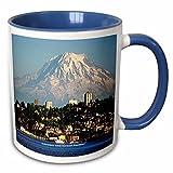 3dRose Sandy Mertens Washington State - Mount Rainier Behind Tacoma - Mount Rainier National Park - 11oz Two-Tone Blue Mug (mug_156407_6)