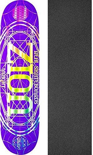 降雨ダルセット共産主義者Real Skateboards Zion Wright Pro Oval Purpleスケートボードデッキ – 8.06 X 32 cmでMob Grip Perforated Griptape – 2アイテムのバンドル