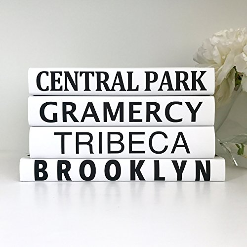 New York Villages Books, Subway Sign Books, New York Decor, Central Park Books, Black Books, Quote Books, Housewarming Gift, New York Wedding (Subway/4 Nyc Sign)