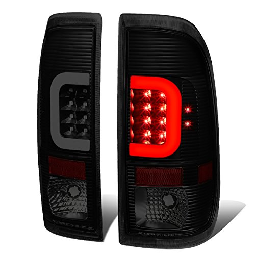 Pair Black Housing Smoked Lens 3D LED Light Bar Tail Lights For Ford Super ()