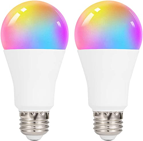 DXing Smart Led Light Bulb A19 E26 WiFi Multicolor Light Bulb 9 W 60-Watt Equivalent RGB Color Changing Compatible with Alexa, Echo, Google Home and IFTTT 2pack