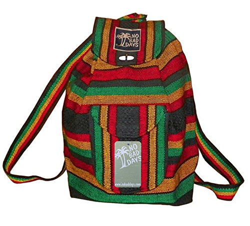 (No Bad Days Baja Backpack Ethnic Woven Mexican Bag - RASTA )