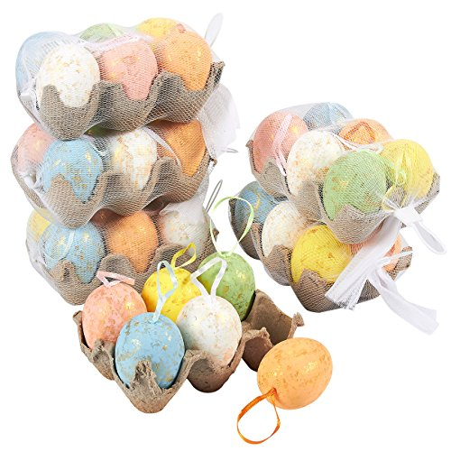 Easter Decorations Tree (36 Pack Plastic Shimmering Easter Egg Ornaments Home Decorations - Decorative Easter Eggs for DIY Crafts and Assorted Easter Decorations, Multicolor, 3 x 1.75 x 1.75 Inches)