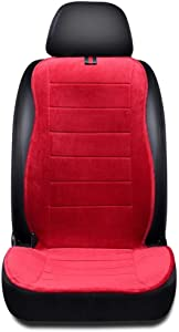 WWH Car Heating seat Cover, Universal 12V Cigarette Lighter, Winter Heating pad Heater with Temperature Controller for backrest and Seats, Suitable for Cars, Home and Office Chairs 716 (Color : Red)