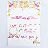#6: First Day of School Sign, Reusable Dry Erase Board, Pink and Gold Floral Design, Handmade in USA- by Page Brook Market