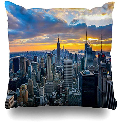 Throw Pillow Cover Cushion Case Square 18x18 Inch Rooftop Skyline New York United States December State 28 Parks City Aerial America American Zippered Cushion Case Home Decor