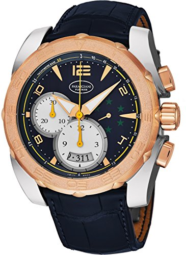 Automatic Chronograph Rose - Parmigiani Fleurier Pershing 005 Mens Automatic Chronograph Watch Rose Gold Bezel - 45mm Analog Blue Face with Second Hand, Date and Tachymeter - Black Rubber Band Swiss Made Waterproof Watch for Men