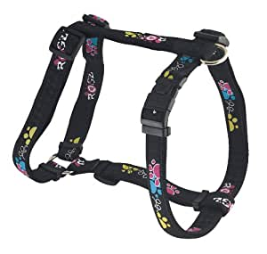 Rogz Fancy Dress Extra Large 1-Inch Armed Response Adjustable Dog H-Harness, Paint Paw Design