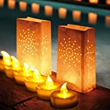 TBW Amber Flickering LED Tealight Candles with White Luminary Bags for Xmas BBQ Party Wedding Home Decration (24pcs Amber Light)