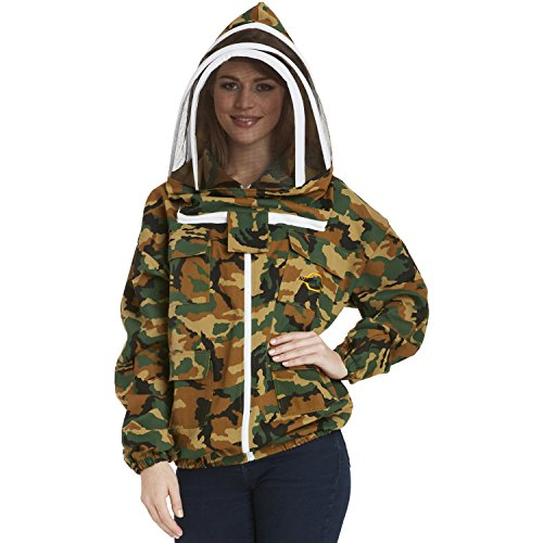 NATURAL APIARY - Apiarist Beekeeping Jacket - Camouflage - Fencing Veil - Total Protection for Professional & Beginner Beekeepers - 3X Large