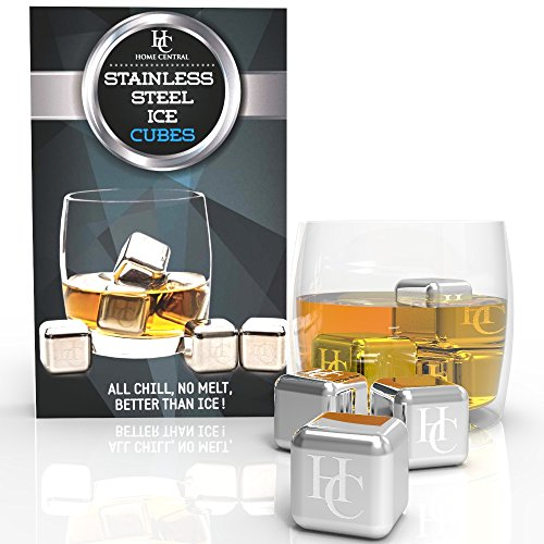 Stainless Steel Ice Cubes by Home Central - Set of 6 Reusable Whiskey Stones Rocks - Best Beverage Cooler: Whiskey, Scotch, Vodka, Wine Chiller (Custom Metal Ball)