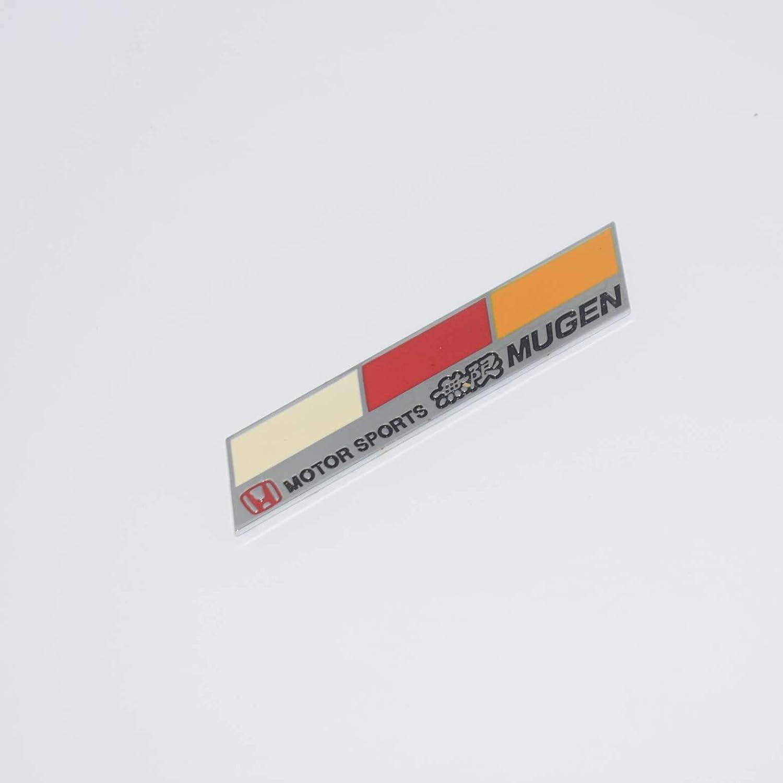 TOTUMY Mugen Chrome Hq Metal Trunk Badge Auto Fender Side Door Car Self Adhesive Emblem Logo Body Hood Decal Sticker Replacement Truck Van Sports Name Plate Swap 3D Die Cast Zin 2694 1 Piece