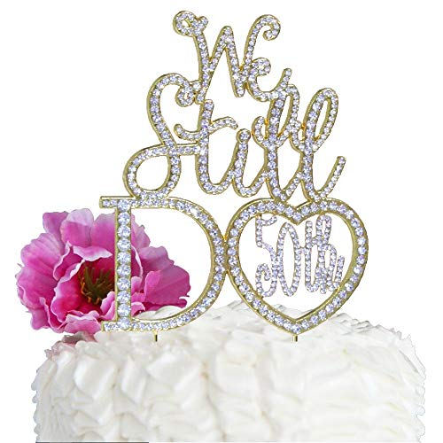 Lulu Sparkles LLC Gold 50th Anniversary Cake topper We Still Do in Crystal Rhinestones vow renewal (Heart Shape 50th)