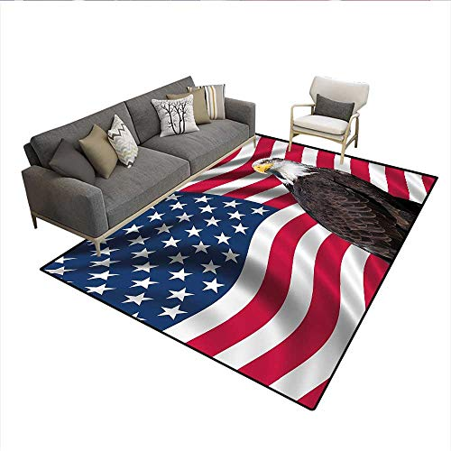 Carpet,Patriotic Symbols of The Land with an American Flag with a Bald Eagle Nationalism,Non Slip Rug Pad,Multicolor 5'x7' ()