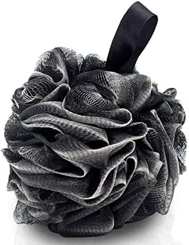 4 Packs Bath Loofahs-Eco-Friendly Carbonized Bamboo Bath Shower Sponge Mesh Pouf Loofahs Shower Ball Loofahs Bath Sponge-Exfoliate,Cleanse,Soothe Skin(60g/pcs)