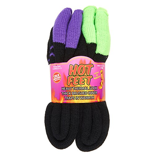 Hot Weather Womens Boots (Hot Feet Women's 2 Pairs Heavy Thermal Socks - Thick Insulated Crew for Cold Weather; Sock Size 9-11, Shoe Size 4-10.5 (Black w Apple Cuff and Black w Grape Cuff))