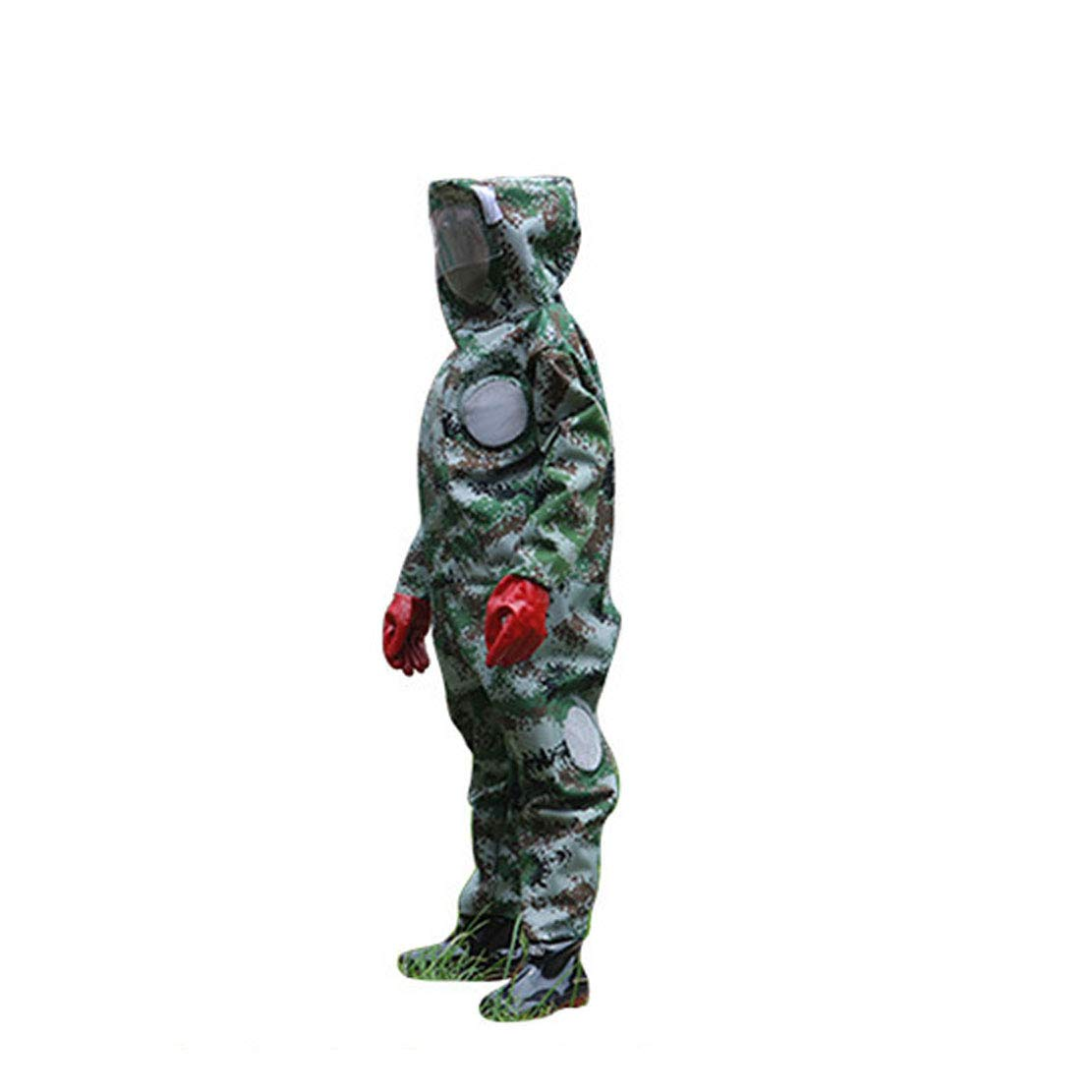 S(160-165) MTGYF Anti-bee Suit Nylon Oxford Anti-horse One-piece Clothing Cooling Breathable Camouflage Wasp Suit Safe And Durable Wear Horse Bee Clothing Bee Coat Bee Cap
