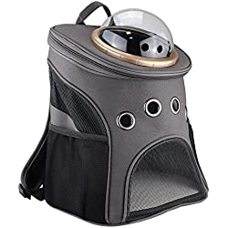 Texsens Canvas Transparent and Breathable Capsule Portable Pet Backpack for Going out or Travelling (Dark gray)
