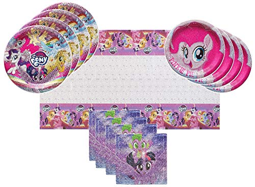 (My Little Pony 2 Party Supplies Tableware Bundle Pack for 16 Guests - Includes 16 Dinner Plates, 16 Dessert Plates, 16 Dinner Napkins, and 1 Tablecover )