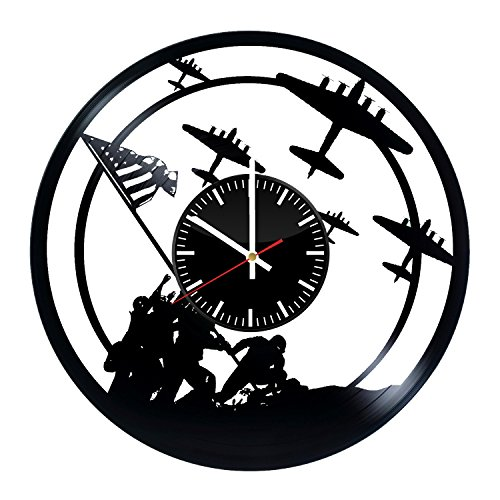 United States Marine Corps War Memorial Vinyl Records Wall Clock - United States Navy Art Handmade Vintage Decor - Best Original Vintage Gift for Men Women - Home Room Kitchen Bedroom Decoration