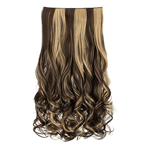 "REECHO 20"" 1-pack 3/4 Full Head Curly Wave Clips in on Synthetic Hair Extensions Hair pieces for Women 5 Clips 4.6 Oz Per Piece - Dark brown with light blonde highlights"