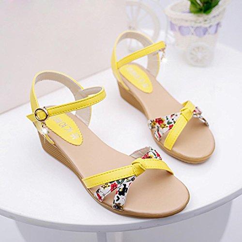 Hunpta Damen Sommer Sandalen Schuhe Peep-Toe Halbschuhe römischen Sandalen Damen Flip Flops Gelb