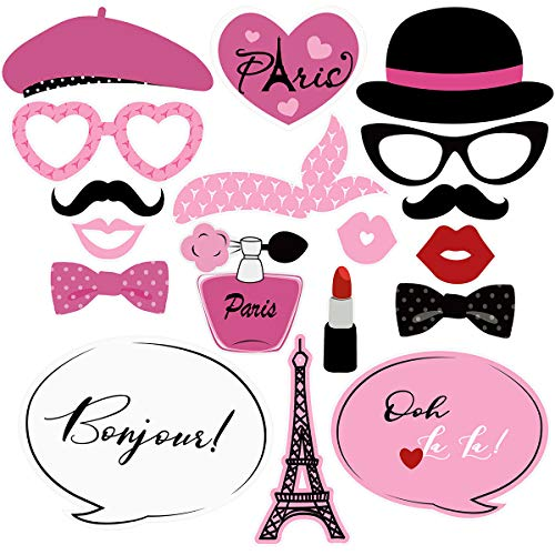 Amosfun Paris Photo Booth Props Kit 18PCS Creative Paris Themed Party Props Decoration for Birthday Wedding Club Bachelor Party Favors(Pink)