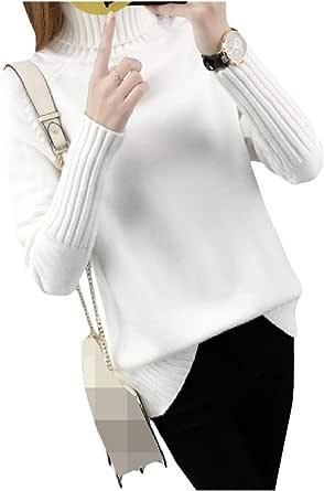 DressUWomen Sólido largo ocasional - jersey de cuello de tortuga manga de punto para Mujers
