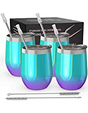 Stainless Steel Stemless Wine Tumbler 2 Pack Sparkle Holographic 12 oz - Double Wall Vacuum Insulated Wine Tumbler with Lids and Straws for Coffee, Wine, Cocktails