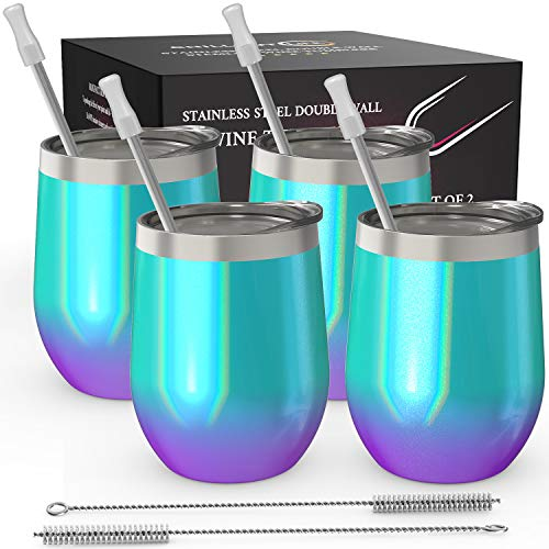 CHILLOUT LIFE Stainless Steel Stemless Wine Glass Tumbler 4 Pack Mermaid Sparkle 12 oz | Double Wall Vacuum Insulated Wine Tumbler with Lids and Straws Set of Four for Coffee, Wine, Cocktails (Tumber Glass)
