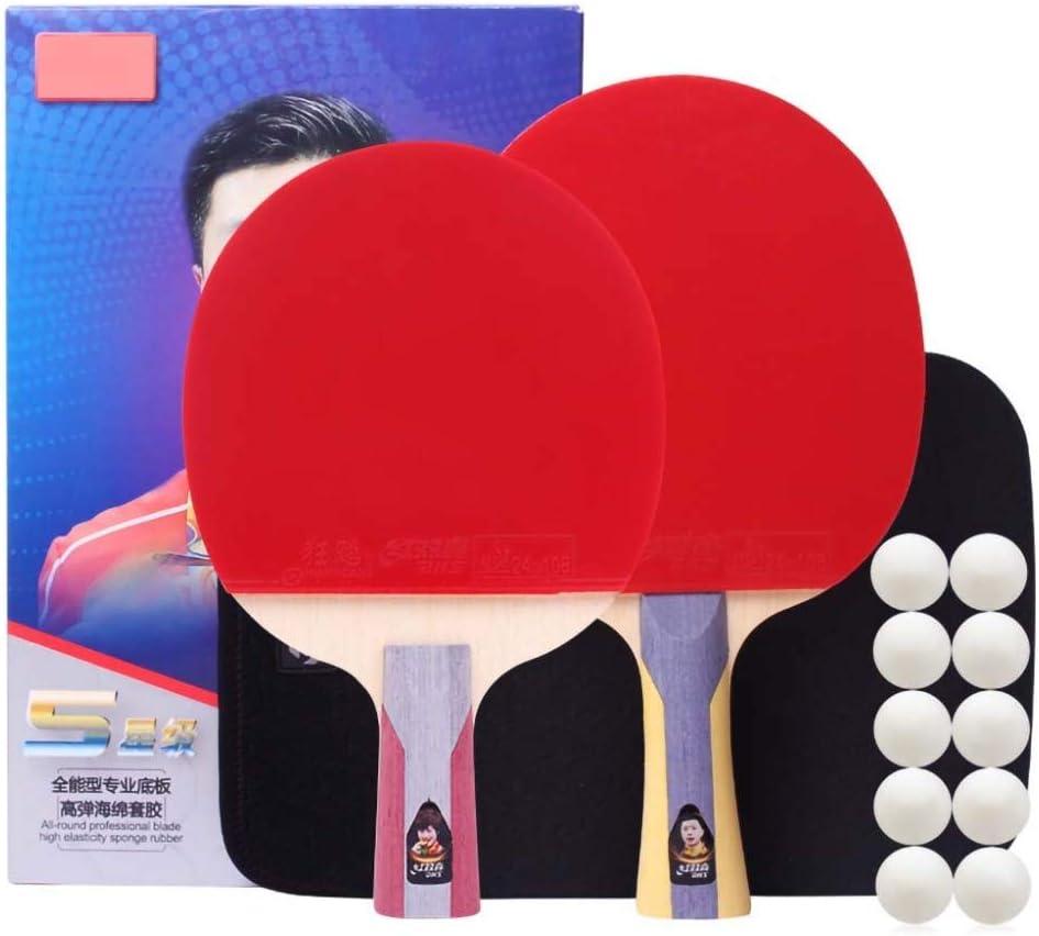 Jszzz Los murciélagos Lerten Cinco Estrellas de Tenis de Mesa, Raquetas de Ping-Pong, de 5 Capas All-Round Base de Piso, Tiene Capacidad for formación de Alto Nivel/como se Muestra/Largo