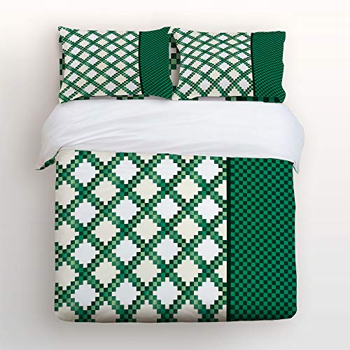 Irish Chain Sham - KAROLA Bedding Duvet Cover Set Printed 4 Piece Duvet Cover Reversible 2 Pillow Shams Ultra Soft with Zipper Closure St. Patrick's Day Irish Chain Queen, 90 by 92 inch