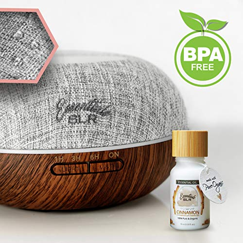 (SLR Woven Loom Essential Oil Diffuser w/Cinnamon Samba Essential Organic Oil - Aromatherapy mist ultrasonic humidifier with waterproof Clouded Forest Canvas Cover Pecan Wood Grain home office baby)