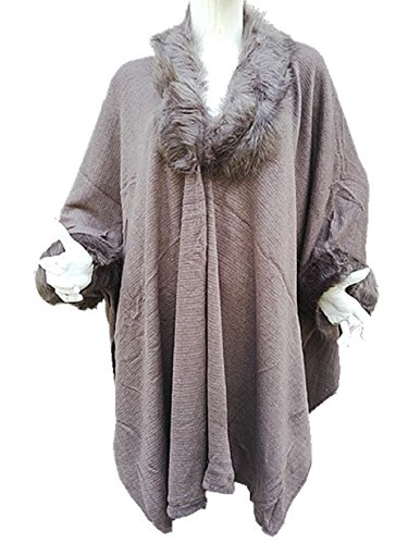 Fashionfolie - Femme CAPE PONCHO 44/46/48/50/52/54/56 fourrure gilet ample grande taille haut TAUPE 120JY