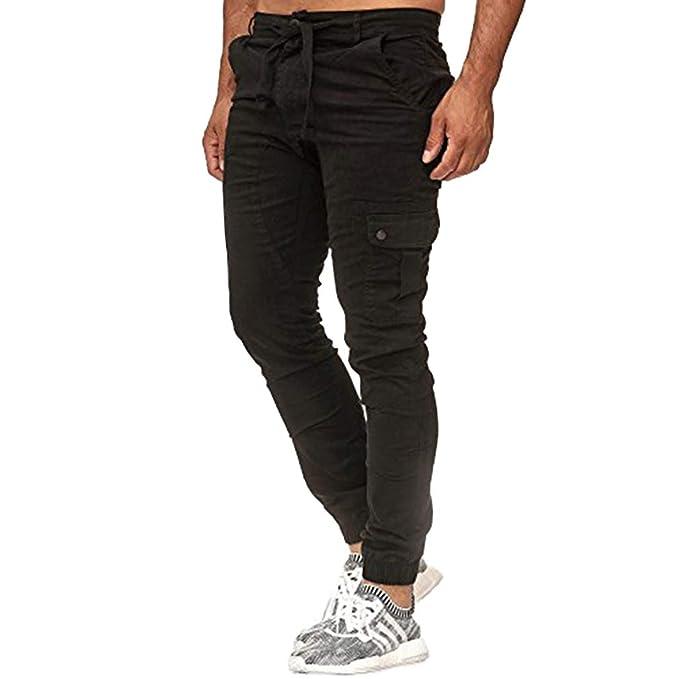 Pantalones Cargo para Hombres Slim Fit Multi Bolsillos Pantalones Carga Cintura Media Pantalones Largos con Cordones Ropa de Trabajo Tallas Grandes M-3XL: ...