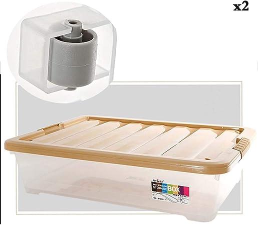 Caja de almacenamiento debajo de la cama KEKET1 de plástico con clips Cajas de almacenamiento for ropa A prueba de humedad Cómodo, resistente y sin olor for medicamentos alimenticios Seguridad for el: