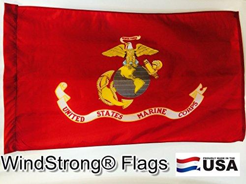 3x5 FT USMC Marine Corps Deluxe Flag (Pole Sleeve) Pole Hem Style Leather Tab WindStrong® SolarMax Nylon Made in the USA Banner Pole Sleeve