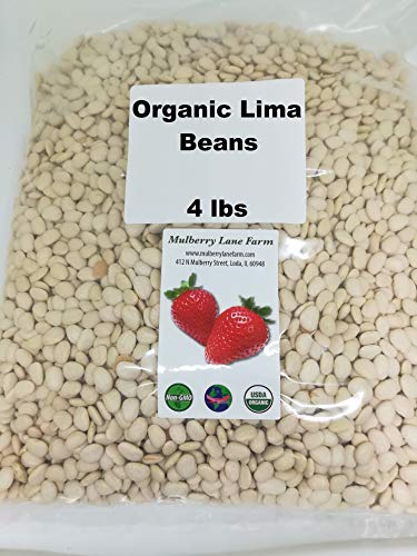Lima Beans 4 Pounds Baby, Butter Beans USDA Certified Organic Non-GMO, Bulk