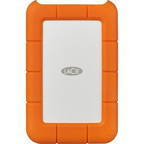 Lacie Rugged 1TB External Hard Drive -USB 3.0, USB-C Portable - Orange Seagate - STFR1000800 / STFR1000400 Compact Portable Hard Drive Case (Small)
