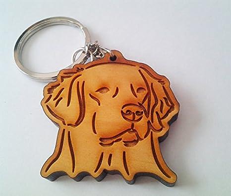 Amazon.com: Wooden Golden Retriever Keychain, Wood Keychain ...