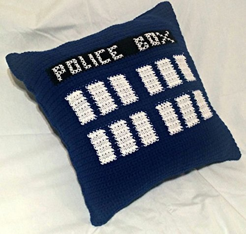 Dr. Who TARDIS Crochet Pillow by Shay's Crochet Creation