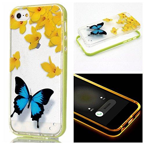 Voguecase® für Apple iPhone 6 Plus/6s Plus (5,5 Zoll), LED Anrufer Anruf Blitz Schutzhülle / Case / Cover / Hülle / 2 in 1 TPU Gel Skin (Gelbe Blumen/Schmetterlinge) + Gratis Universal Eingabestift