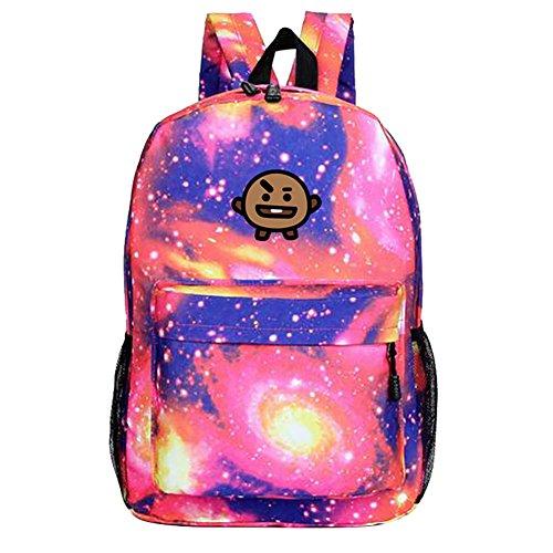 Backpack Canvas Bts Sports Satchel Boys Bangtan Shooky Cartoon bt21 Unisex Sky Kpop Bags Starry Schoolbag Orange wBtqfxCnx