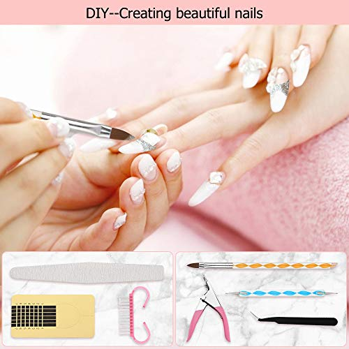 Acrylic Nail Kit with Everything,Nails Kit Acrylic Set for Acrylic Tips,Teamyo 42 in 1 Nail Acrylic Powder for Beginner,DIY Decoration Acrylic Nails Starter Kit